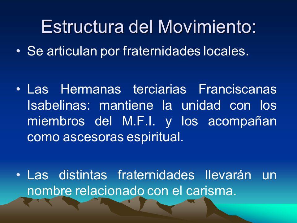 Estructura del Movimiento: Se articulan por fraternidades locales. Las Hermanas terciarias Franciscanas Isabelinas: mantiene la unidad con los miembro