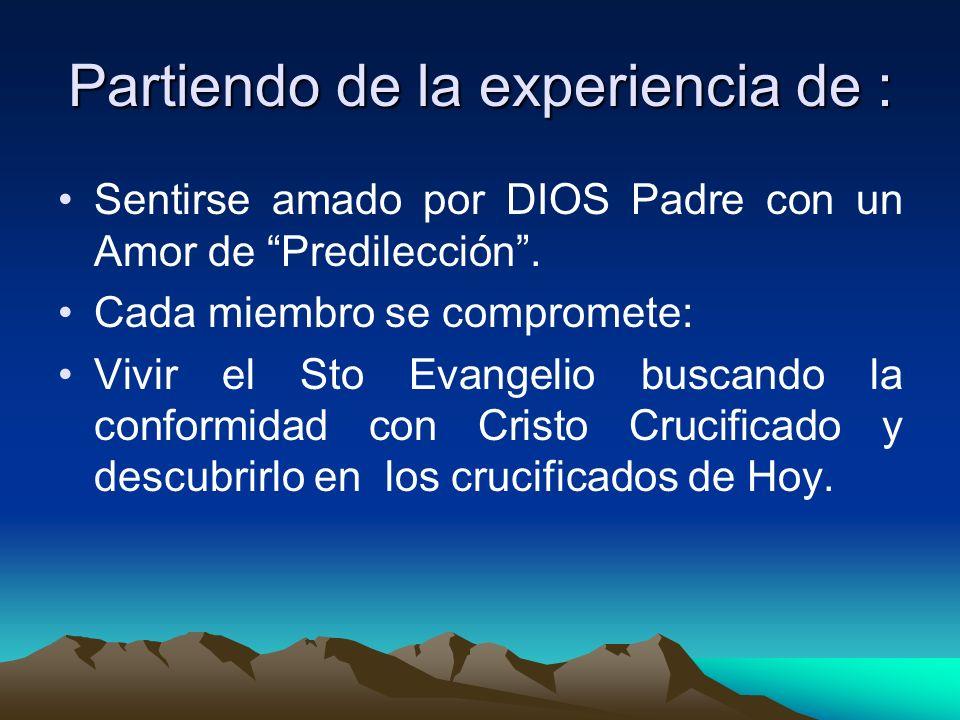Partiendo de la experiencia de : Sentirse amado por DIOS Padre con un Amor de Predilección. Cada miembro se compromete: Vivir el Sto Evangelio buscand