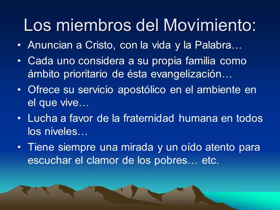 Los miembros del Movimiento: Anuncian a Cristo, con la vida y la Palabra… Cada uno considera a su propia familia como ámbito prioritario de ésta evang