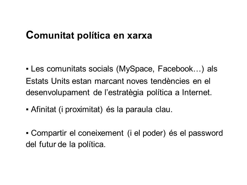 C omunitat política en xarxa Les comunitats socials (MySpace, Facebook…) als Estats Units estan marcant noves tendències en el desenvolupament de lestratègia política a Internet.