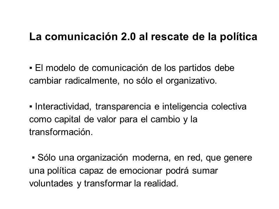 La comunicación 2.0 al rescate de la política El modelo de comunicación de los partidos debe cambiar radicalmente, no sólo el organizativo.