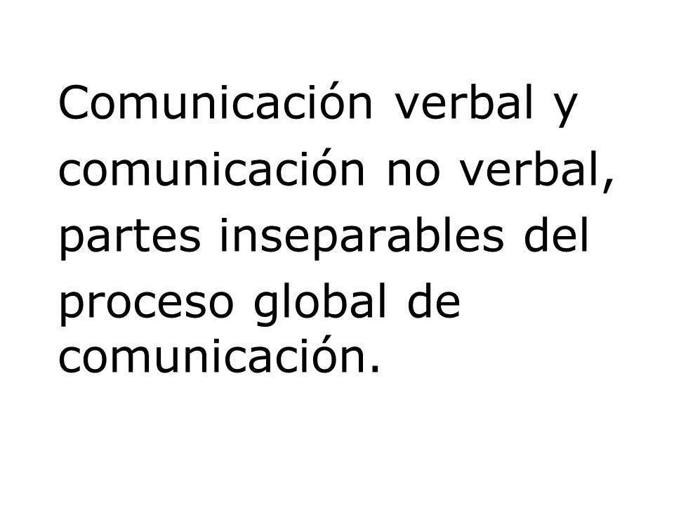 Comunicación verbal y comunicación no verbal, partes inseparables del proceso global de comunicación.