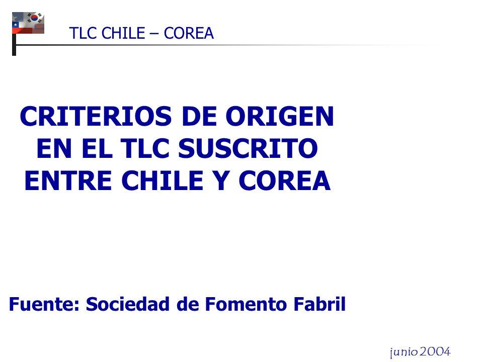 CRITERIOS DE ORIGEN EN EL TLC SUSCRITO ENTRE CHILE Y COREA Fuente: Sociedad de Fomento Fabril TLC CHILE – COREA junio 2004