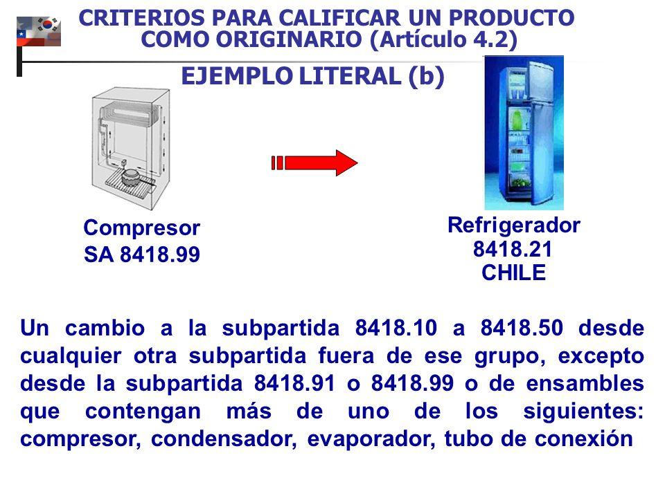CRITERIOS PARA CALIFICAR UN PRODUCTO COMO ORIGINARIO (Artículo 4.2) EJEMPLO LITERAL (b) Refrigerador 8418.21 CHILE Un cambio a la subpartida 8418.10 a 8418.50 desde cualquier otra subpartida fuera de ese grupo, excepto desde la subpartida 8418.91 o 8418.99 o de ensambles que contengan más de uno de los siguientes: compresor, condensador, evaporador, tubo de conexión Compresor SA 8418.99