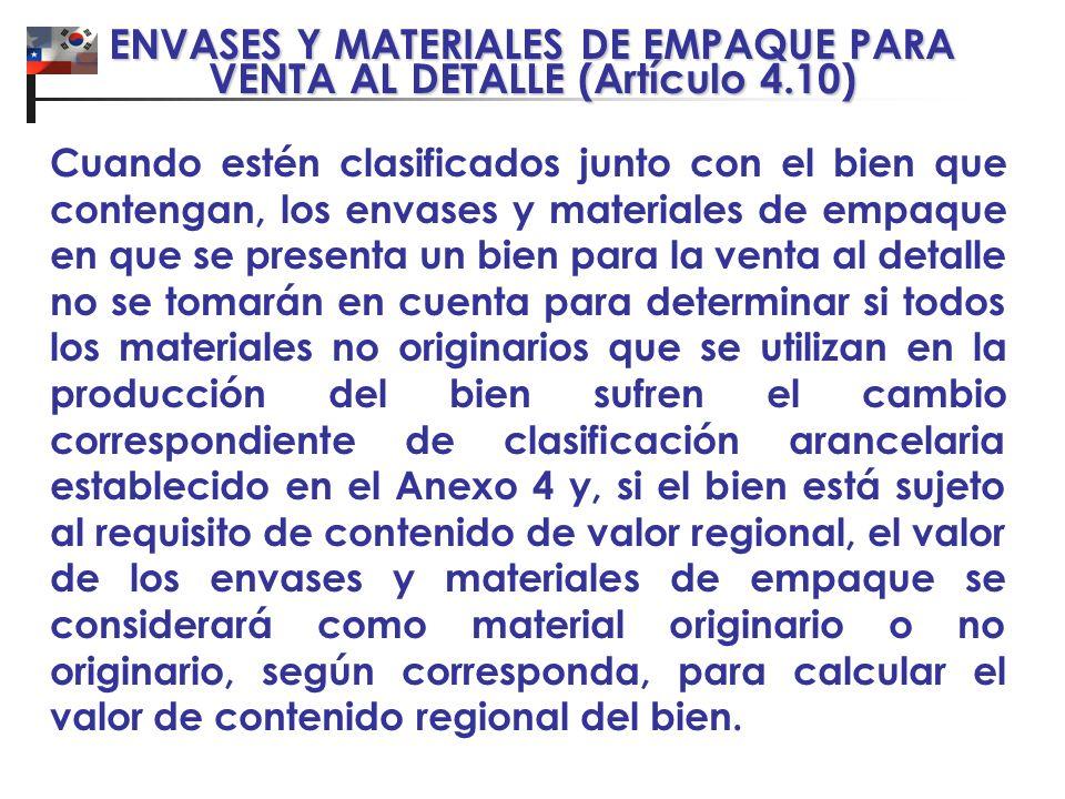 ENVASES Y MATERIALES DE EMPAQUE PARA VENTA AL DETALLE (Artículo 4.10) Cuando estén clasificados junto con el bien que contengan, los envases y materia