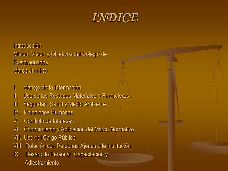 INDICE Introducción Misión, Visión y Objetivos del Colegio de Postgraduados Marco Jurídico I.