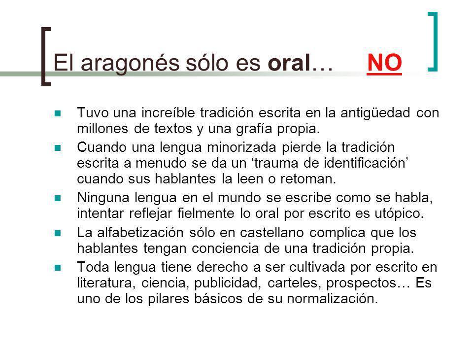 El aragonés sólo es oral… NO Tuvo una increíble tradición escrita en la antigüedad con millones de textos y una grafía propia.