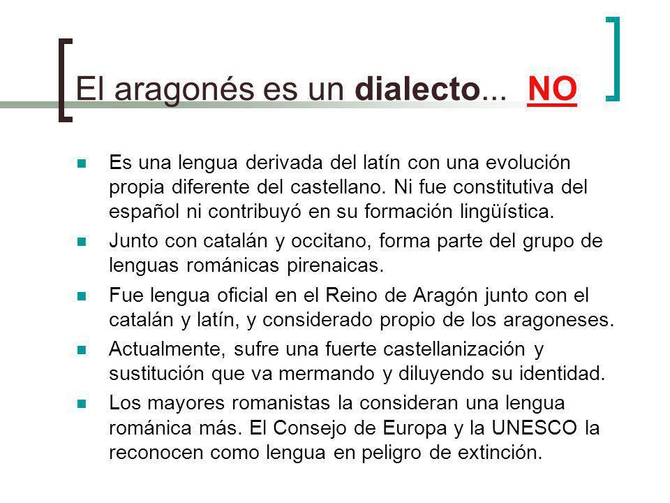 El aragonés es un dialecto... NO Es una lengua derivada del latín con una evolución propia diferente del castellano. Ni fue constitutiva del español n