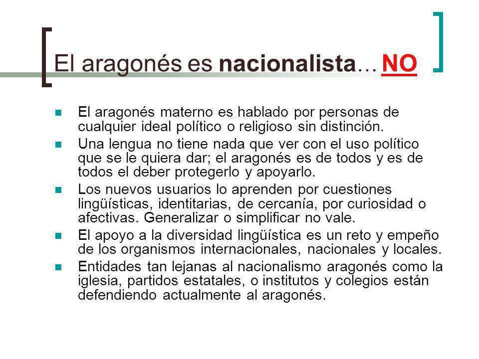 El aragonés es nacionalista … NO El aragonés materno es hablado por personas de cualquier ideal político o religioso sin distinción. Una lengua no tie