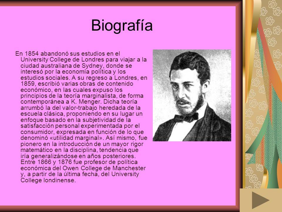 Biografía En 1854 abandonó sus estudios en el University College de Londres para viajar a la ciudad australiana de Sydney, donde se interesó por la ec