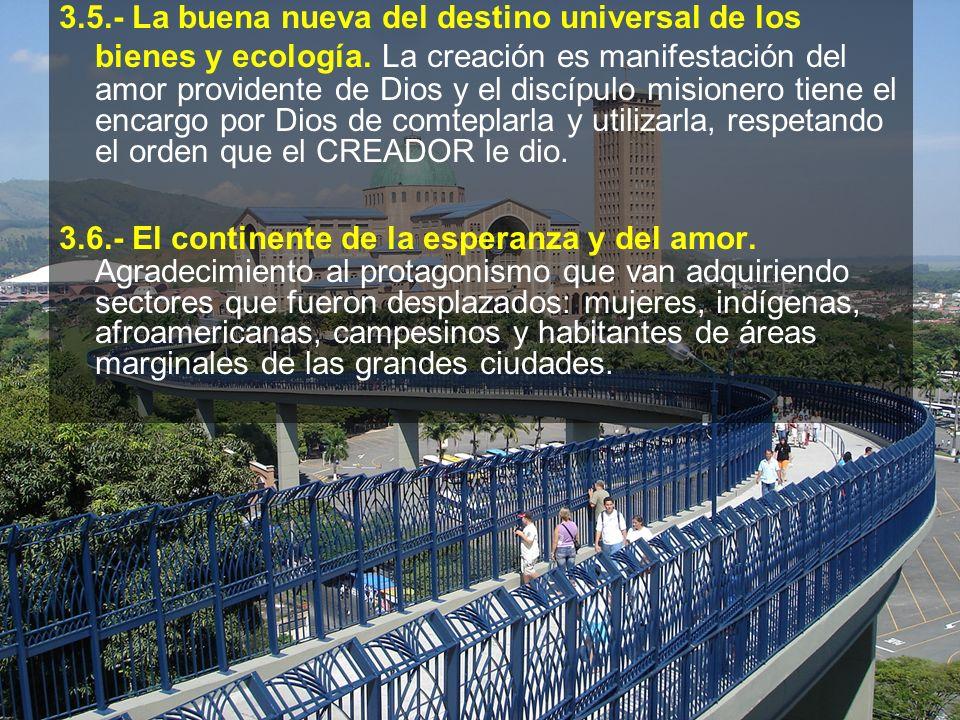 3.5.- La buena nueva del destino universal de los bienes y ecología. La creación es manifestación del amor providente de Dios y el discípulo misionero