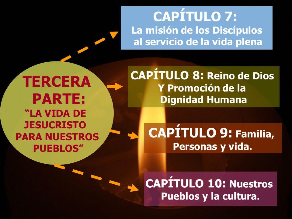 TERCERA PARTE: LA VIDA DE JESUCRISTO PARA NUESTROS PUEBLOS CAPÍTULO 7: La misión de los Discípulos al servicio de la vida plena CAPÍTULO 8: Reino de Dios Y Promoción de la Dignidad Humana CAPÍTULO 9: Familia, Personas y vida.
