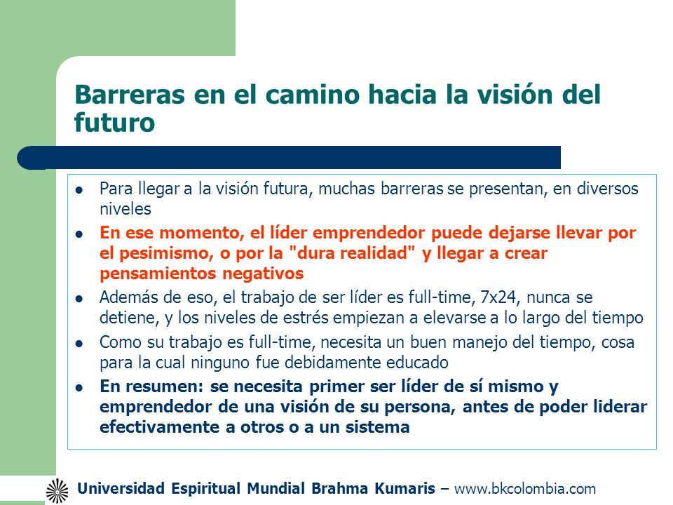 Universidad Espiritual Mundial Brahma Kumaris – www.bkcolombia.com Barreras en el camino hacia la visión del futuro Para llegar a la visión futura, muchas barreras se presentan, en diversos niveles En ese momento, el líder emprendedor puede dejarse llevar por el pesimismo, o por la dura realidad y llegar a crear pensamientos negativos Además de eso, el trabajo de ser líder es full-time, 7x24, nunca se detiene, y los niveles de estrés empiezan a elevarse a lo largo del tiempo Como su trabajo es full-time, necesita un buen manejo del tiempo, cosa para la cual ninguno fue debidamente educado En resumen: se necesita primer ser líder de sí mismo y emprendedor de una visión de su persona, antes de poder liderar efectivamente a otros o a un sistema