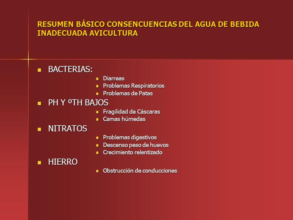 RESUMEN BÁSICO CONSENCUENCIAS DEL AGUA DE BEBIDA INADECUADA AVICULTURA BACTERIAS: BACTERIAS: Diarreas Diarreas Problemas Respiratorios Problemas Respi