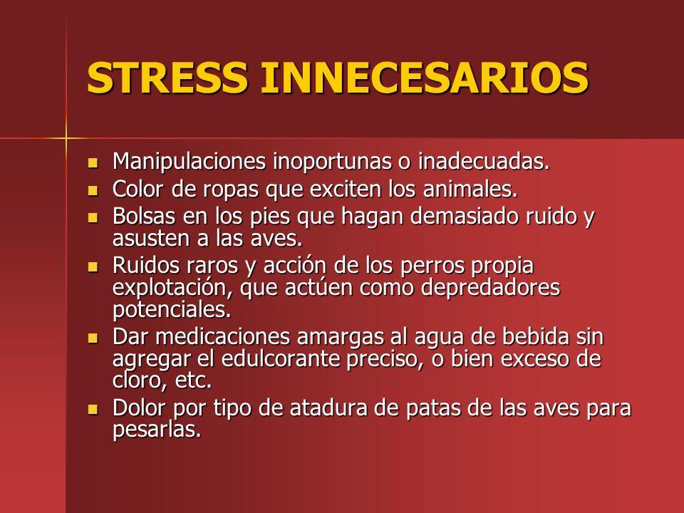 STRESS INNECESARIOS Manipulaciones inoportunas o inadecuadas. Manipulaciones inoportunas o inadecuadas. Color de ropas que exciten los animales. Color