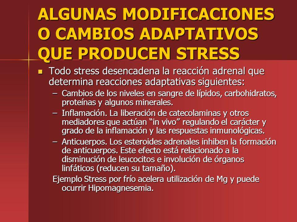 ALGUNAS MODIFICACIONES O CAMBIOS ADAPTATIVOS QUE PRODUCEN STRESS Todo stress desencadena la reacción adrenal que determina reacciones adaptativas sigu