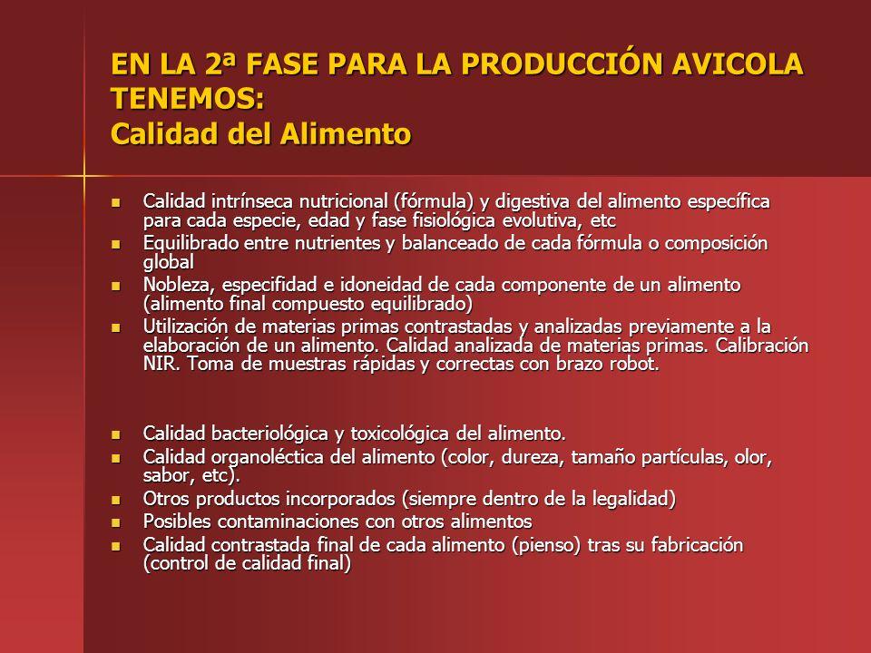 EN LA 2ª FASE PARA LA PRODUCCIÓN AVICOLA TENEMOS: Calidad del Alimento Calidad intrínseca nutricional (fórmula) y digestiva del alimento específica pa