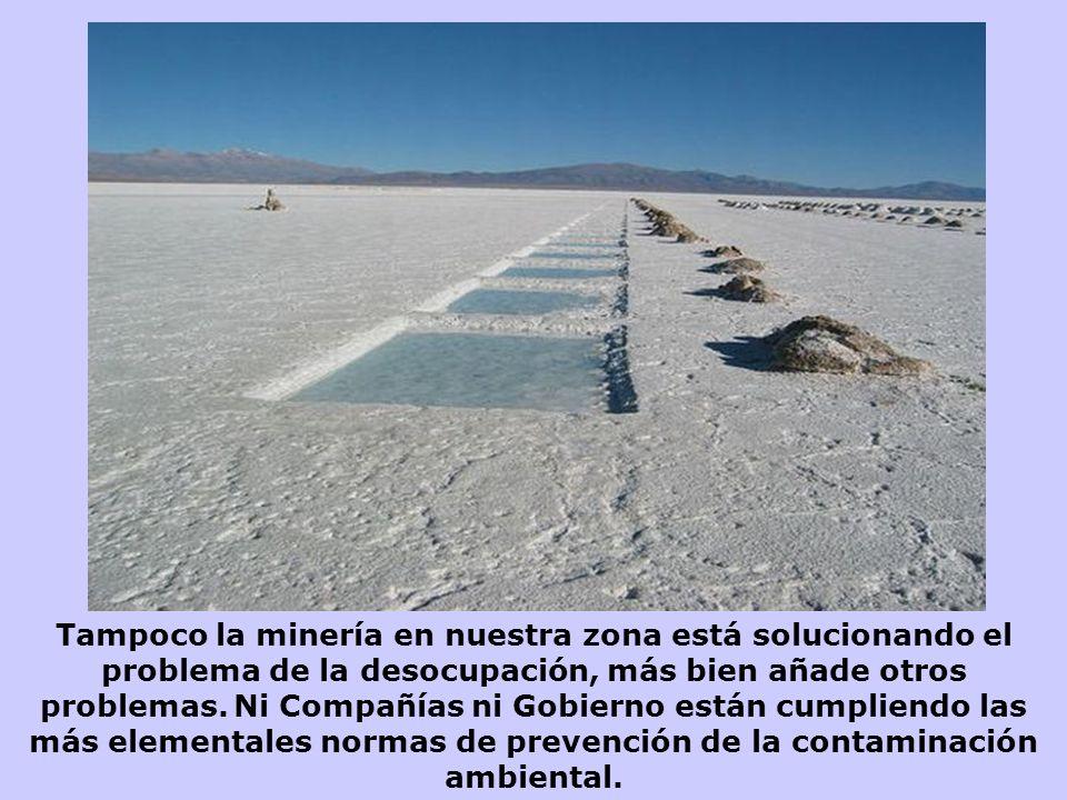 Tampoco la minería en nuestra zona está solucionando el problema de la desocupación, más bien añade otros problemas.