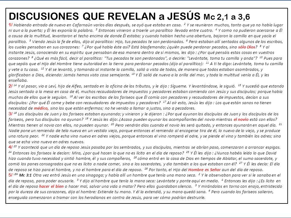 DISCUSIONES QUE REVELAN VELADAMENTE a JESÚS Mc 2:1 - 3:6 1 - 2,1-12 Curando el paralítico, se ve que Jesús es Dios que perdona 2 - 2,13-17 Llamando a un pecador, se nos dice que Jesús es Médico que cura a las personas 3 - 2,18-22 Defendiendo a los discípulos, Jesús deja entender que es el Esposo del Reino 4 - 2,23-27 Cuando los discípulos trabajan en sábado, Jesús dice que Él es Señor del sábado 5 - 3,1-6 Curando, Jesús enseña que Él es el que hace el Bien, y que eso es el centro de la Ley de Dios (sigue) 1a PARTE del EVANGELIO Mc 1, 16 a 3,6