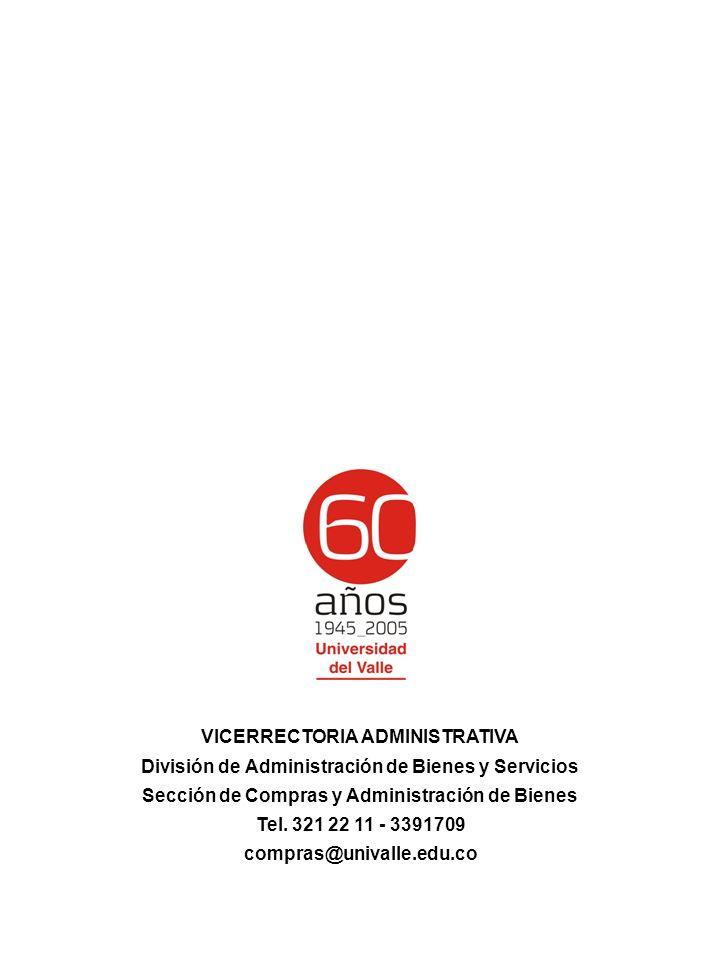 VICERRECTORIA ADMINISTRATIVA División de Administración de Bienes y Servicios Sección de Compras y Administración de Bienes Tel.