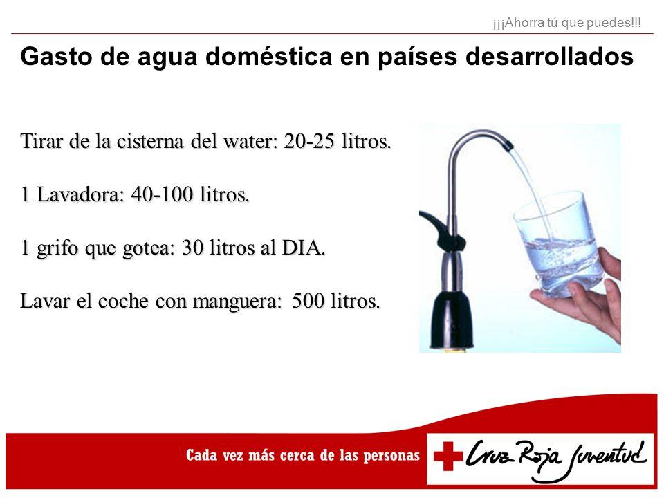 Gasto de agua doméstica en países desarrollados Tirar de la cisterna del water: 20-25 litros. 1 Lavadora: 40-100 litros. 1 grifo que gotea: 30 litros
