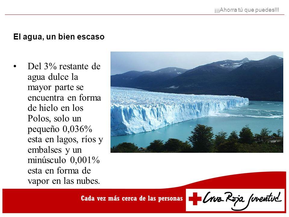 Usos del agua en España Regadío: 24.000 Hm3 Abastecimiento ciudades: 4.300 Hm3 Industria: 1.900 Hm3 ¡¡¡Ahorra tú que puedes!!!