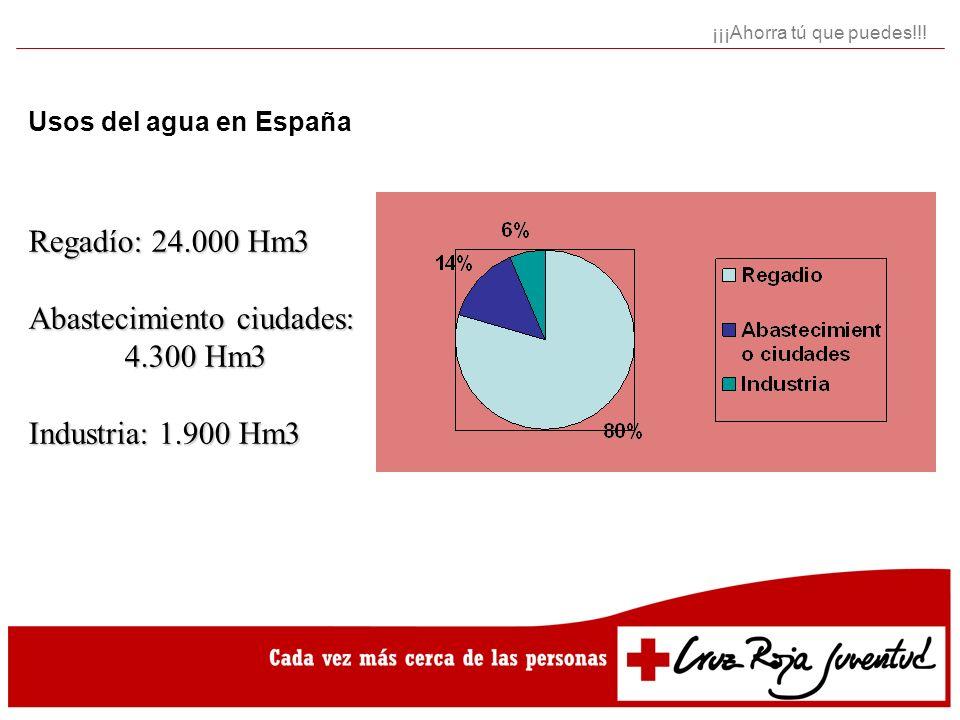 Consumo domestico por persona y día América del Norte: 450 litros Europa: 158 litros España: 171 litros Asia: 64 litros África: 15-50 litros ¡¡¡Ahorra tú que puedes!!!