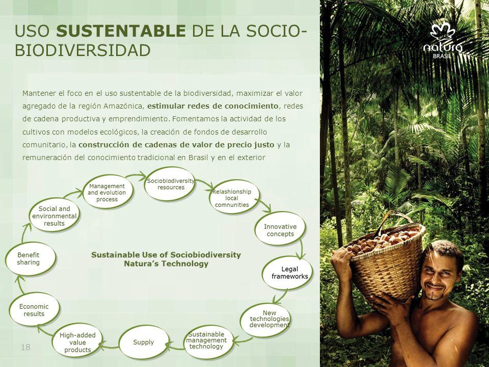 Mantener el foco en el uso sustentable de la biodiversidad, maximizar el valor agregado de la región Amazónica, estimular redes de conocimiento, redes de cadena productiva y emprendimiento.