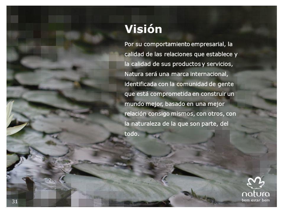 Por su comportamiento empresarial, la calidad de las relaciones que establece y la calidad de sus productos y servicios, Natura será una marca internacional, identificada con la comunidad de gente que está comprometida en construir un mundo mejor, basado en una mejor relación consigo mismos, con otros, con la naturaleza de la que son parte, del todo.