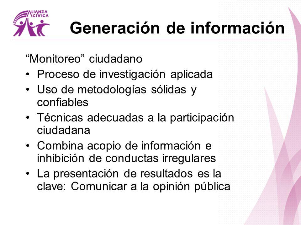 Generación de información Monitoreo ciudadano Proceso de investigación aplicada Uso de metodologías sólidas y confiables Técnicas adecuadas a la parti