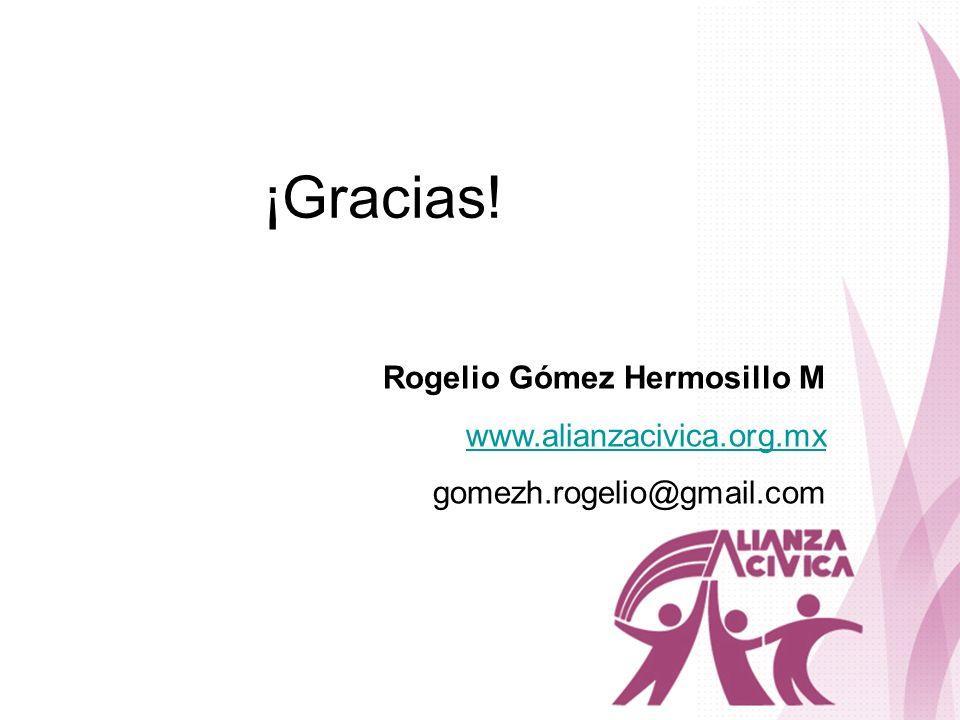 ¡Gracias! Rogelio Gómez Hermosillo M www.alianzacivica.org.mx gomezh.rogelio@gmail.com
