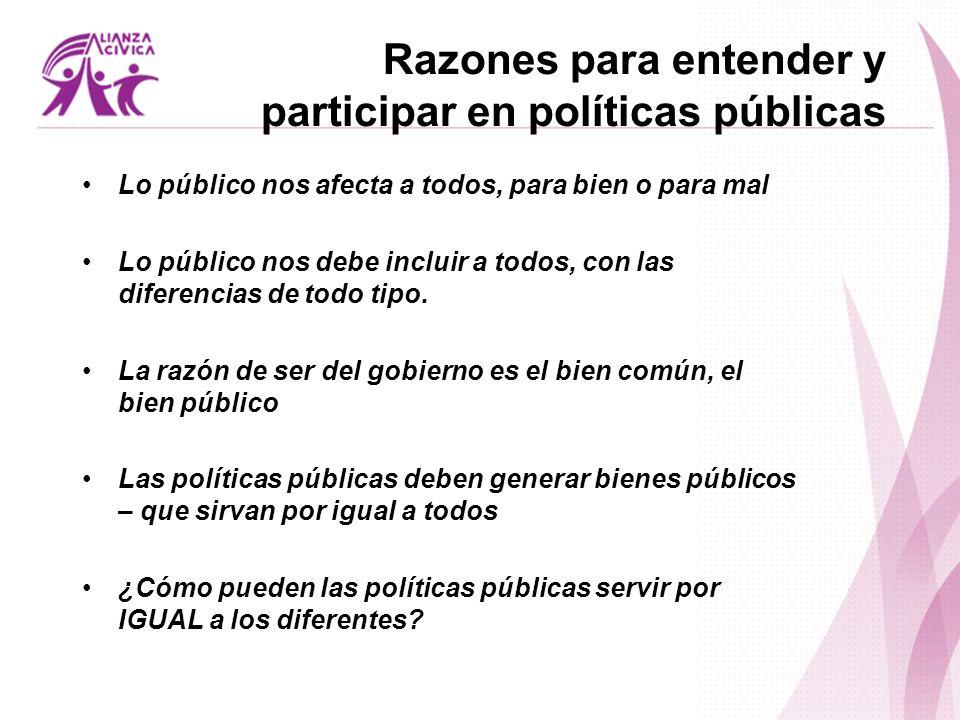 Razones para entender y participar en políticas públicas Lo público nos afecta a todos, para bien o para mal Lo público nos debe incluir a todos, con