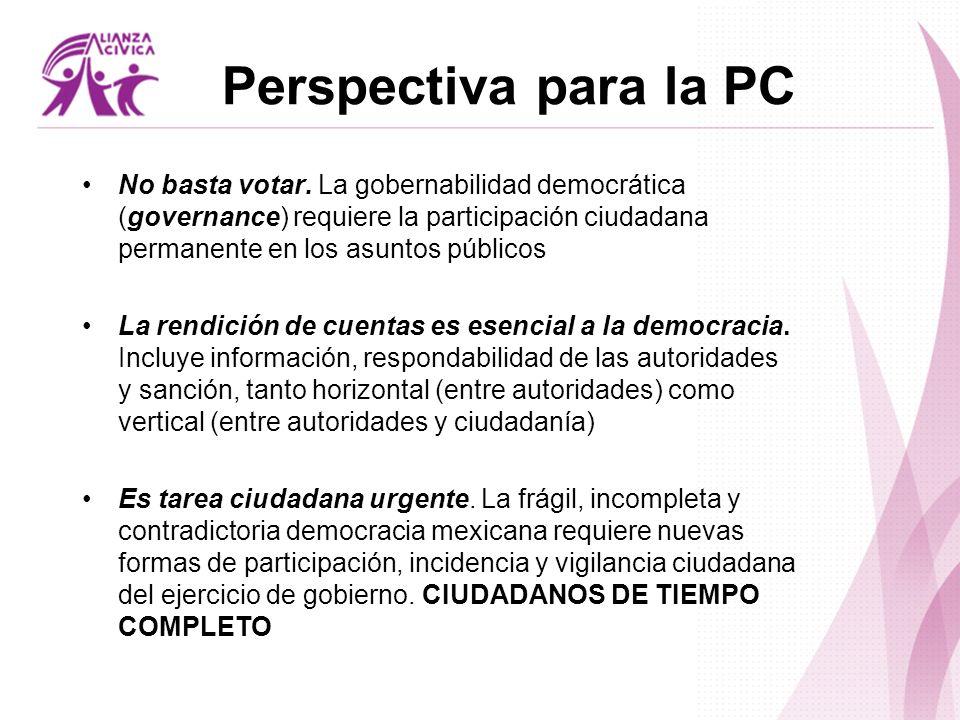 Perspectiva para la PC No basta votar. La gobernabilidad democrática (governance) requiere la participación ciudadana permanente en los asuntos públic