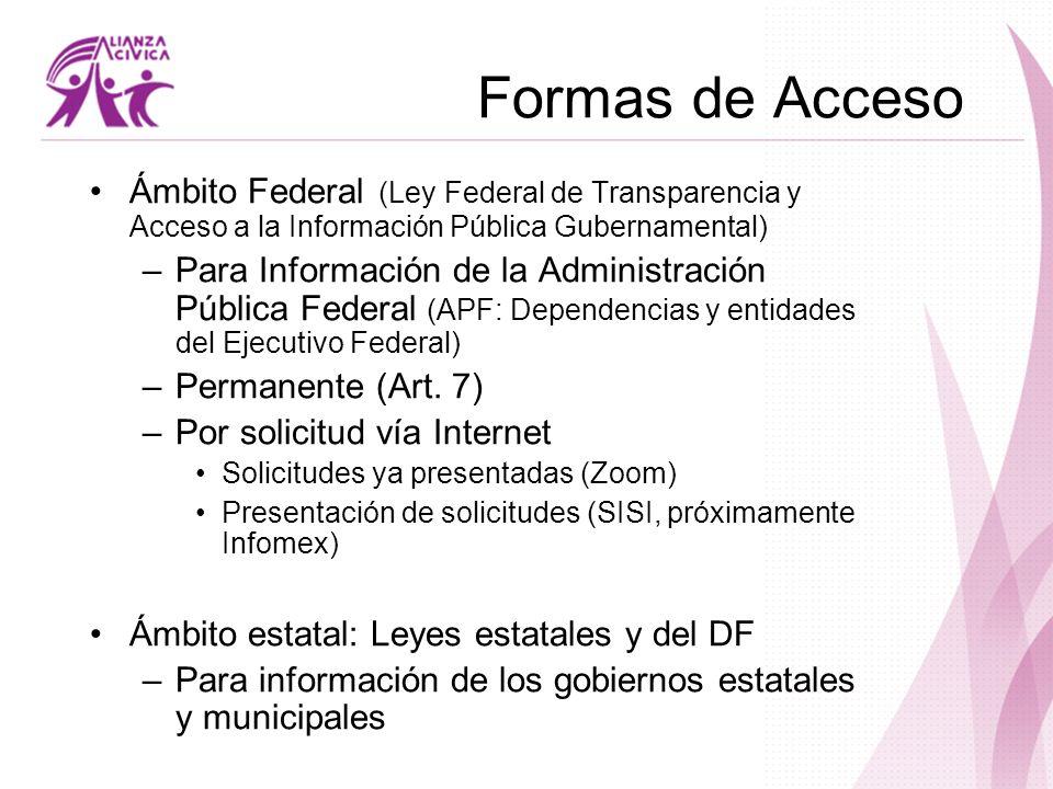 Formas de Acceso Ámbito Federal (Ley Federal de Transparencia y Acceso a la Información Pública Gubernamental) –Para Información de la Administración
