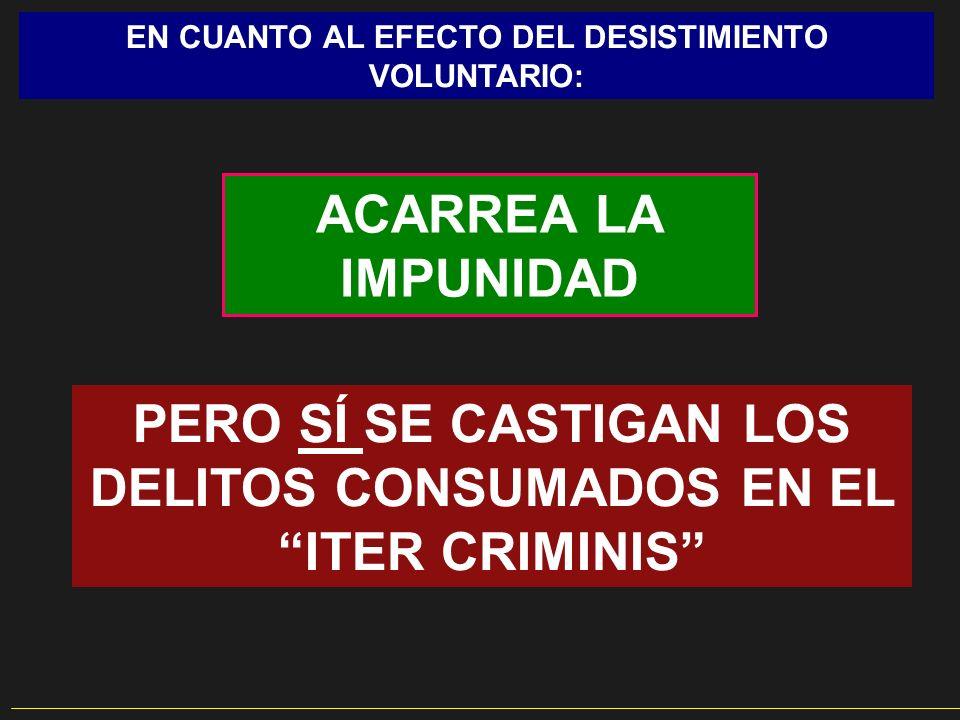 EN CUANTO AL EFECTO DEL DESISTIMIENTO VOLUNTARIO: ACARREA LA IMPUNIDAD PERO SÍ SE CASTIGAN LOS DELITOS CONSUMADOS EN EL ITER CRIMINIS