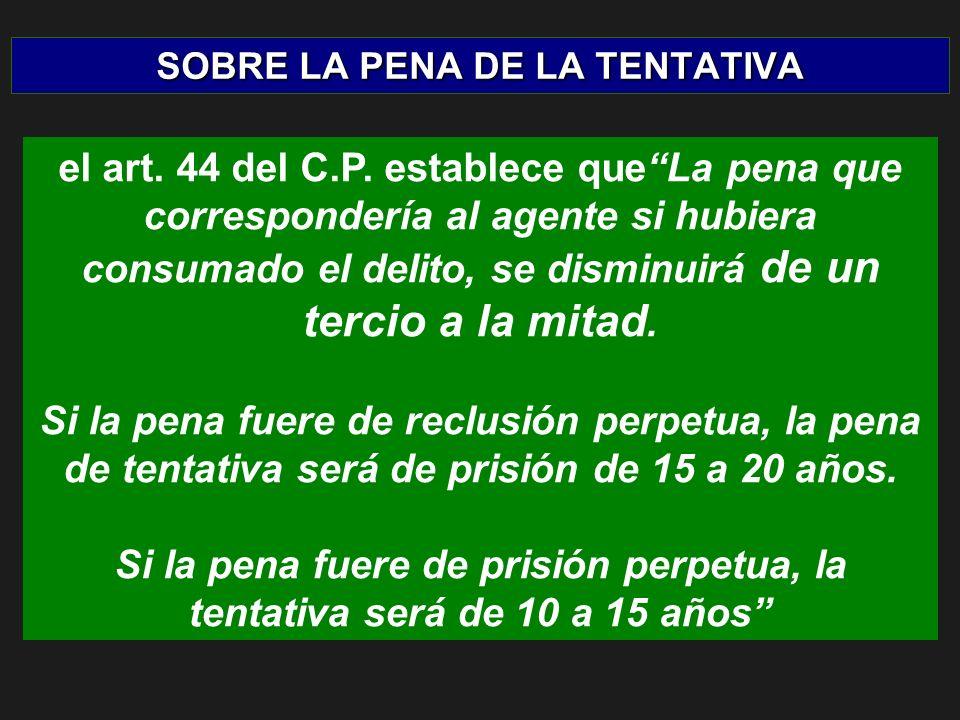 SOBRE LA PENA DE LA TENTATIVA el art. 44 del C.P.