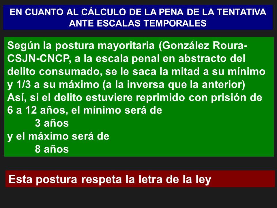 EN CUANTO AL CÁLCULO DE LA PENA DE LA TENTATIVA ANTE ESCALAS TEMPORALES Según la postura mayoritaria (González Roura- CSJN-CNCP, a la escala penal en abstracto del delito consumado, se le saca la mitad a su mínimo y 1/3 a su máximo (a la inversa que la anterior) Así, si el delito estuviere reprimido con prisión de 6 a 12 años, el mínimo será de 3 años y el máximo será de 8 años Esta postura respeta la letra de la ley