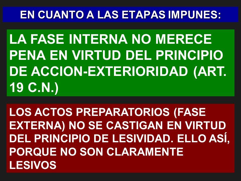 EN CUANTO A LAS ETAPAS IMPUNES: LA FASE INTERNA NO MERECE PENA EN VIRTUD DEL PRINCIPIO DE ACCION-EXTERIORIDAD (ART. 19 C.N.) LOS ACTOS PREPARATORIOS (