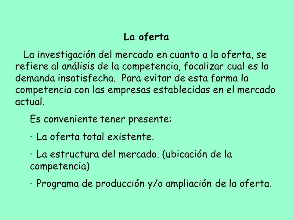 La oferta La investigación del mercado en cuanto a la oferta, se refiere al análisis de la competencia, focalizar cual es la demanda insatisfecha. Par