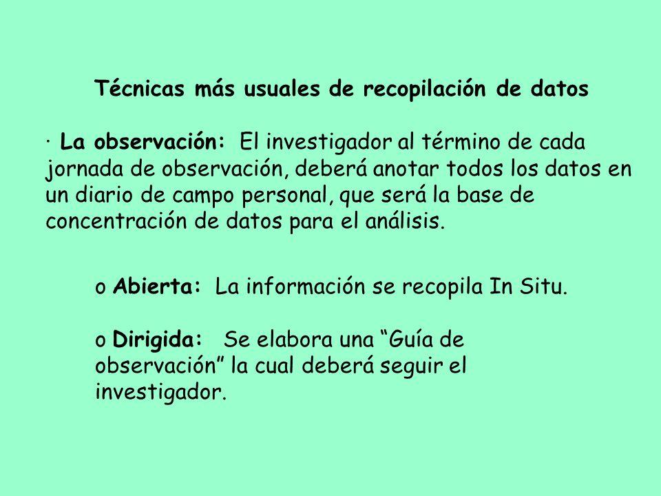 Técnicas más usuales de recopilación de datos · La observación: El investigador al término de cada jornada de observación, deberá anotar todos los dat