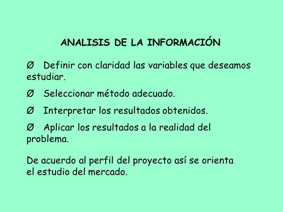 ANALISIS DE LA INFORMACIÓN Ø Definir con claridad las variables que deseamos estudiar. Ø Seleccionar método adecuado. Ø Interpretar los resultados obt