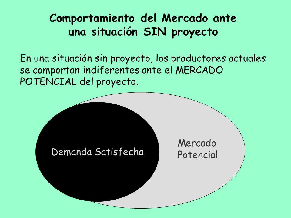 Comportamiento del Mercado ante una situación SIN proyecto En una situación sin proyecto, los productores actuales se comportan indiferentes ante el M
