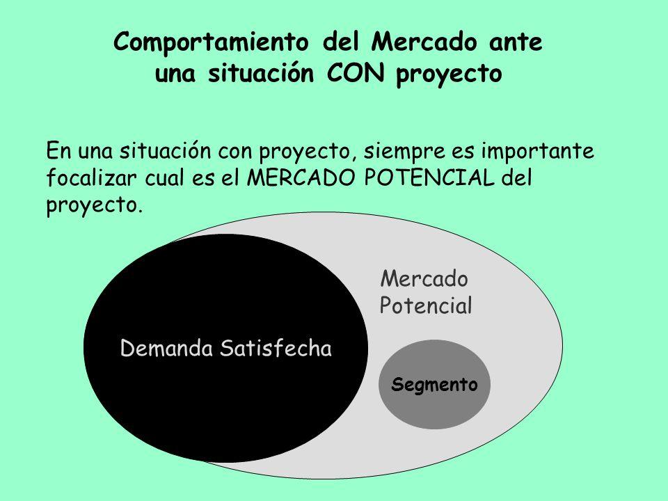 Comportamiento del Mercado ante una situación CON proyecto En una situación con proyecto, siempre es importante focalizar cual es el MERCADO POTENCIAL