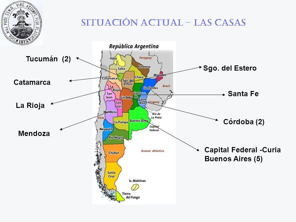 Situación actual – las casas Capital Federal -Curia Buenos Aires (5) Santa Fe Córdoba (2) Tucumán (2) Sgo. del Estero Catamarca La Rioja Mendoza
