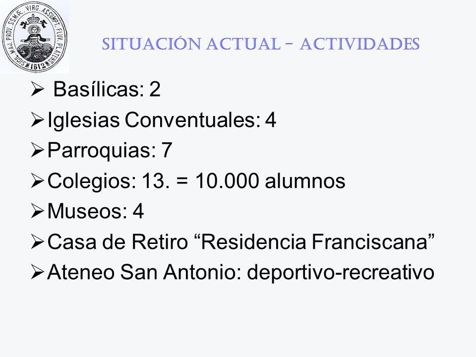 Situación actual - Actividades Basílicas: 2 Iglesias Conventuales: 4 Parroquias: 7 Colegios: 13. = 10.000 alumnos Museos: 4 Casa de Retiro Residencia