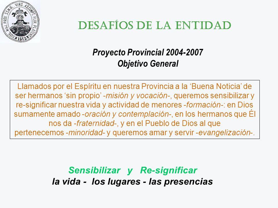 Desafíos de la entidad Proyecto Provincial 2004-2007 Objetivo General Llamados por el Espíritu en nuestra Provincia a la Buena Noticia de ser hermanos