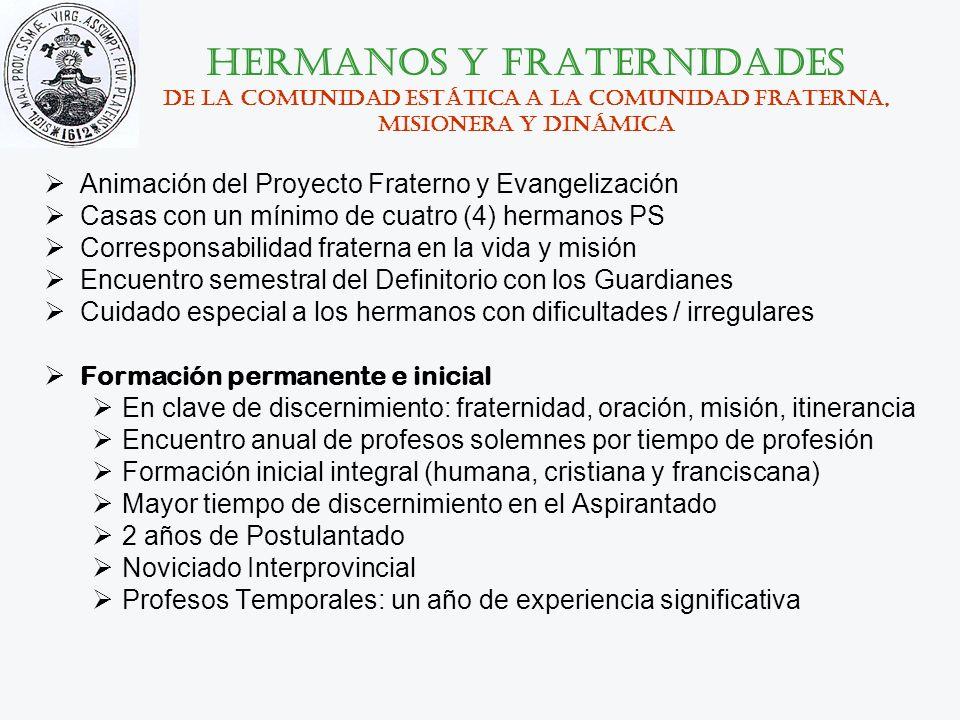 hermanos y fraternidades De la comunidad estática a la comunidad fraterna, misionera y dinámica Animación del Proyecto Fraterno y Evangelización Casas