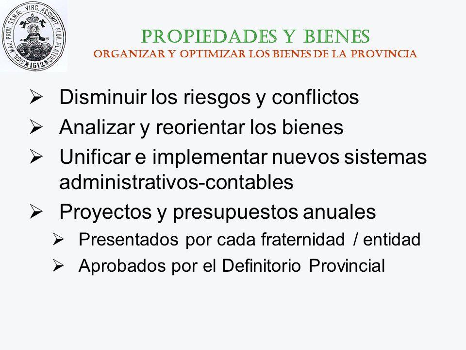 Propiedades y bienes organizar y optimizar los bienes de la provincia Disminuir los riesgos y conflictos Analizar y reorientar los bienes Unificar e i