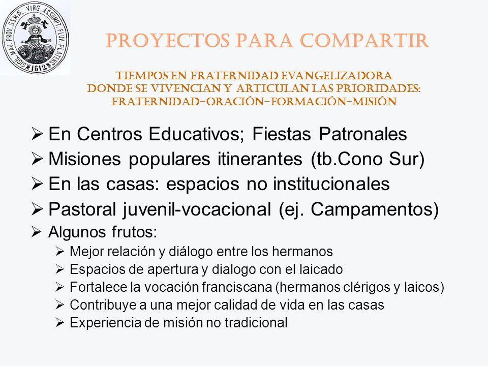 Proyectos para compartir En Centros Educativos; Fiestas Patronales Misiones populares itinerantes (tb.Cono Sur) En las casas: espacios no instituciona