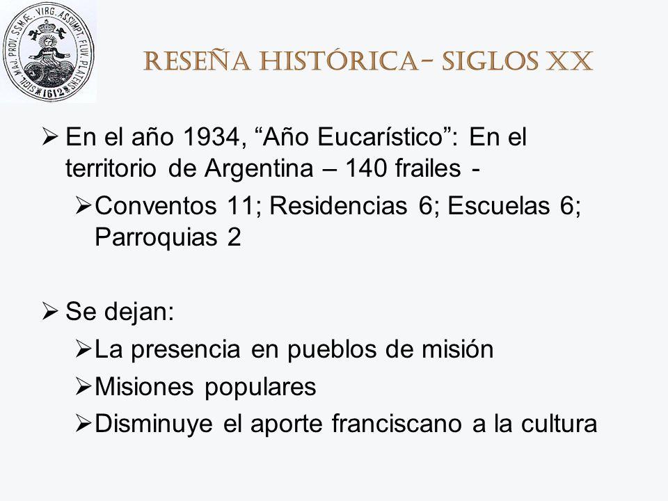 Reseña histórica- Siglos XX En el año 1934, Año Eucarístico: En el territorio de Argentina – 140 frailes - Conventos 11; Residencias 6; Escuelas 6; Pa